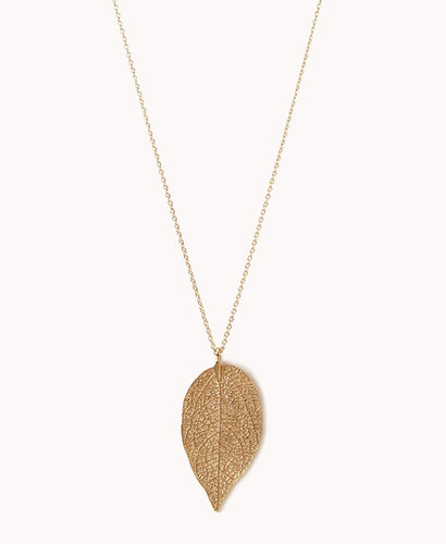 FOREVER 21 Etched Leaf Necklace