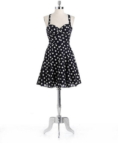BETSEY JOHNSON Cotton Polka Dot Halter Dress