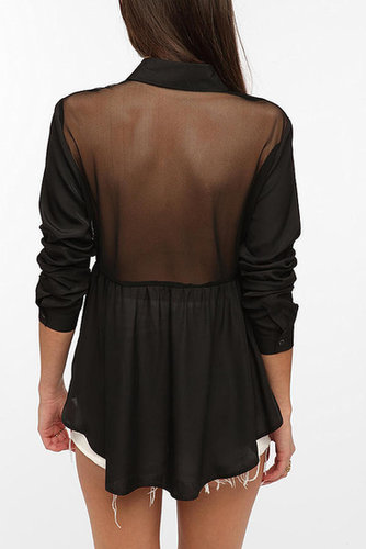 Sparkle & Fade Skirted Mesh-Back Blouse