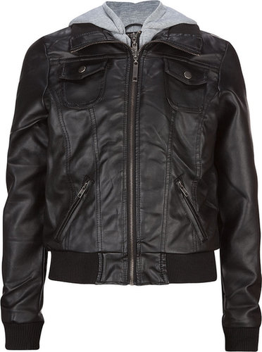 FULL TILT Hooded Faux Leather Girls Jacket