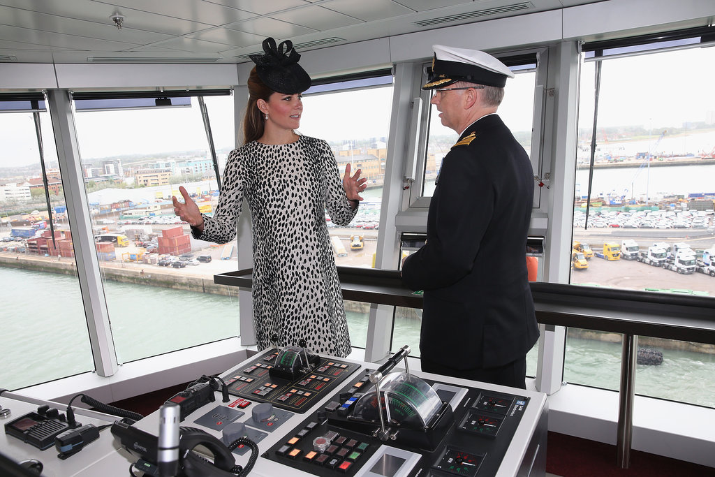 Kate Middleton chatted with the ship's captain during her tour.