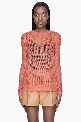EDUN Burnt orange Merino Open-Knit Sweater
