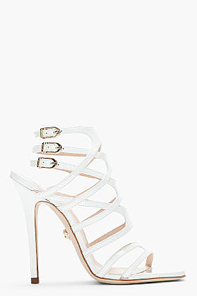 VERSACE White Patent Leather Cage Sandals