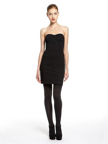 Luxe Ponte Strapless Dress With Sweetheart Neckline And Allover Studs