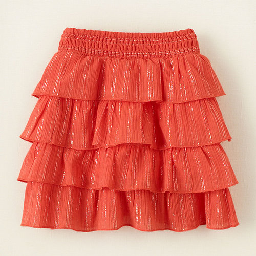 Tiered gauze shine skort