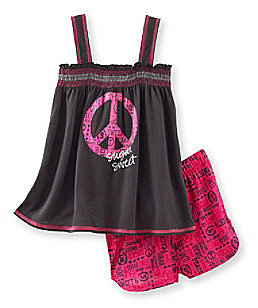 Sugar Sweet Girls' 5-16 Black/Pink Peace Baby Doll Pajama Set