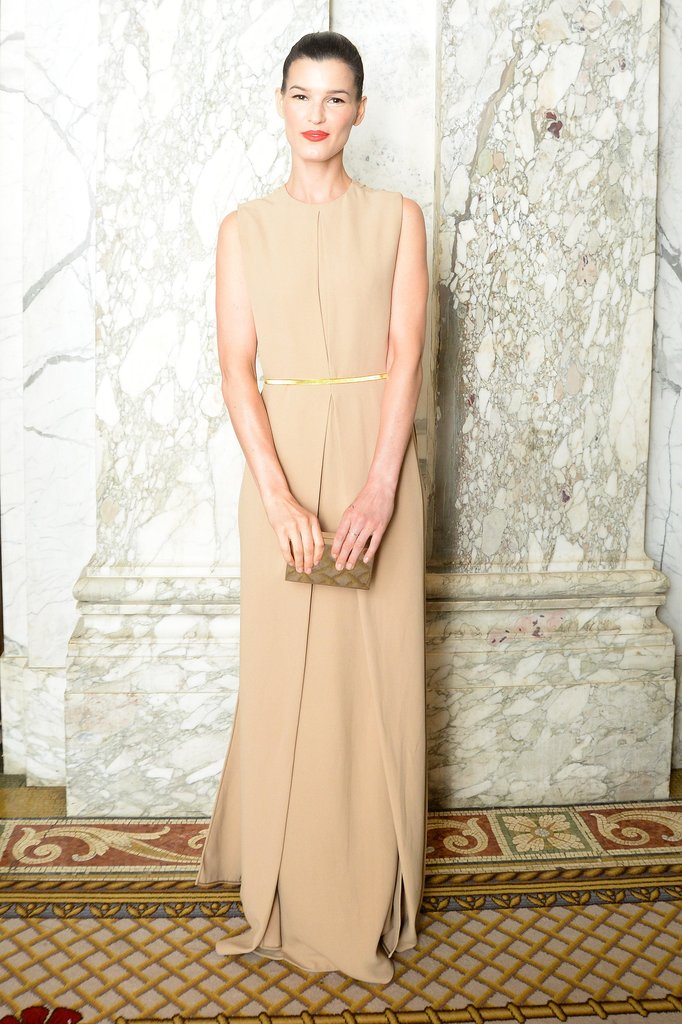Hanneli Mustaparta in an understated, nude-hued floor-length dress. Source: Matteo Prandoni/BFAnyc.com