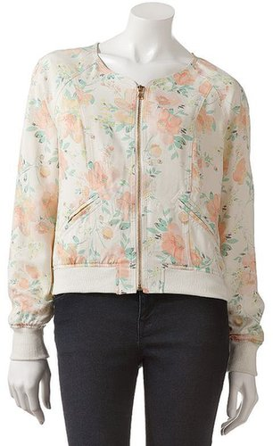 Candie's® floral collarless bomber jacket