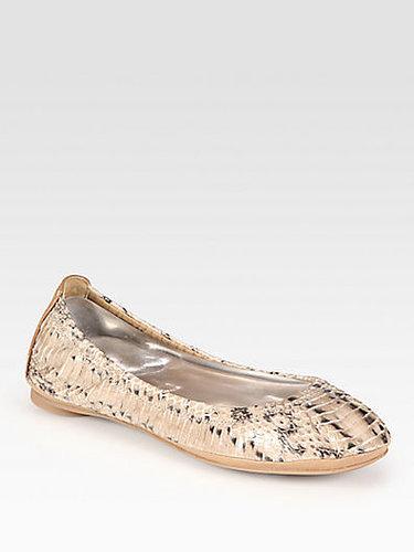 Tory Burch Eddie Python-Print Watersnake Ballet Flats