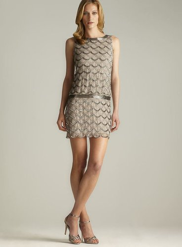 Adrianna Papell Scoop Back Scallop Sequined & Beaded Dress