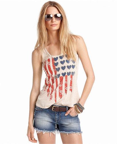 American Rag Juniors Top, Sleeveless Flag-Print Tank