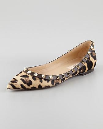 Valentino Rockstud Calf Hair Ballerina Flat, Leopard
