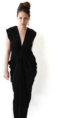 Blush Pleated Maxi Dress Black