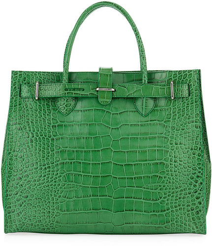 Furla Greta Large Crocodile Embossed Shopper, Avocado