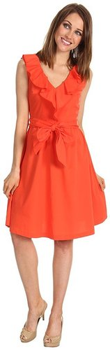 Suzi Chin for Maggy Boutique - 1-Piece Sleeveless Ruffle Neck Dress W/ Sash (Sunset) - Apparel