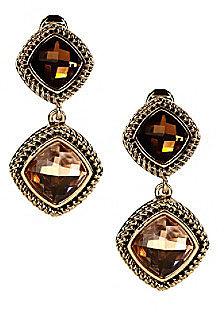 Napier® Goldtone & Multi Colored Brown Peach Double Drop Clip Earrings