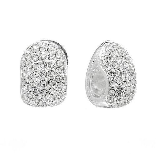 Napier silver tone simulated crystal j-hoop clip-on earrings