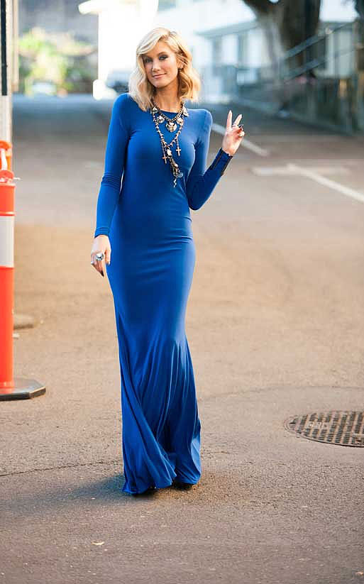 This slinky cobalt gown was designed by local label, House of Zhivago. House of Emmanuelle and Lotus Mendes jewels up the glamour.