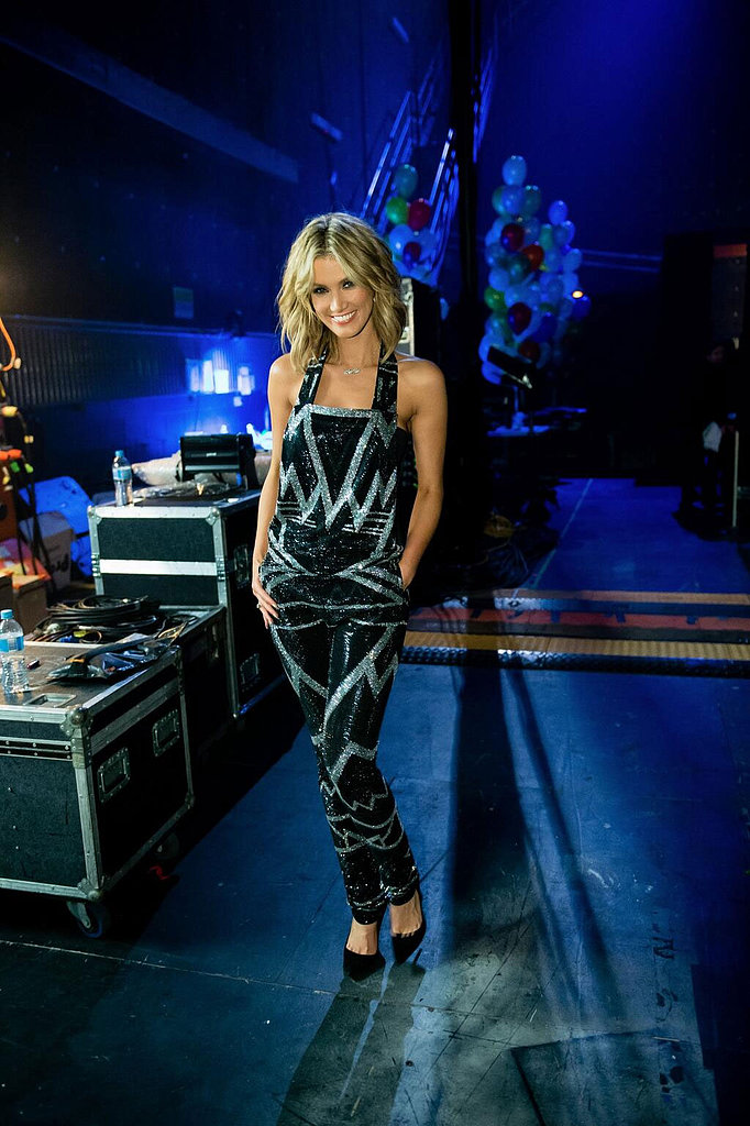 A bedazzled jumpsuit by Balmain added serious sparkle to Delta's Voice wardrobe.