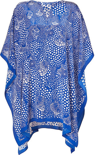 Issa Royal Blue Printed Silk Crepe de Chine Silk Kaftan