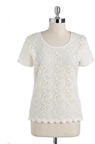 ANNE KLEIN Short-Sleeved Lace Top