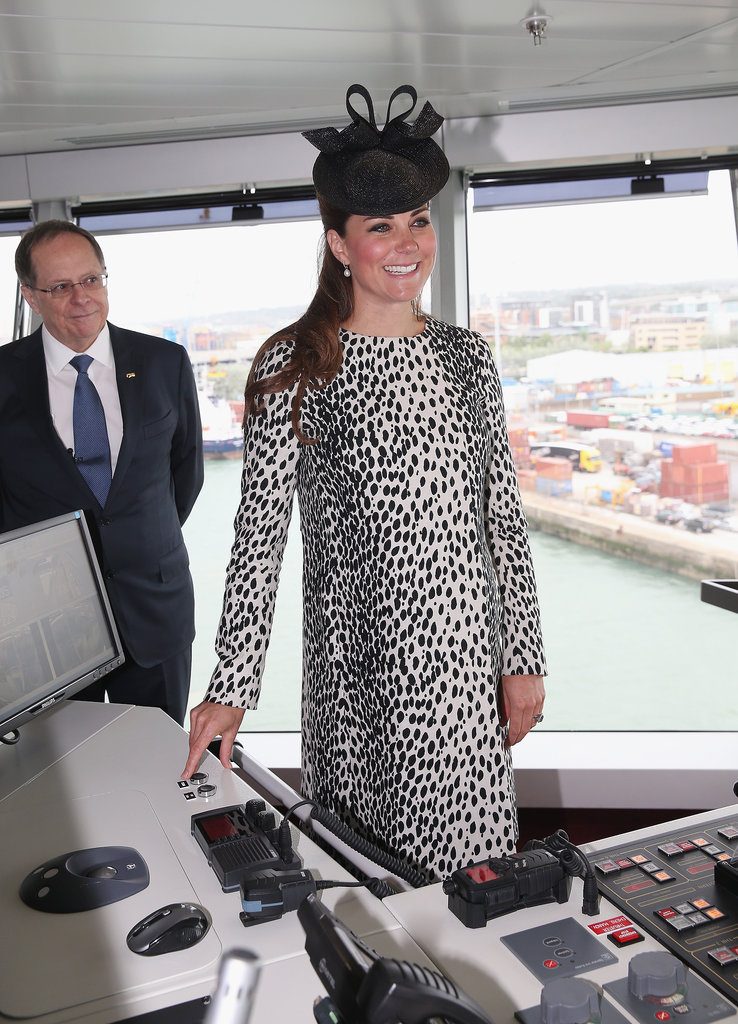 Kate Middleton wore a leopard coat to christen a Princess Cruises ship in Southampton, England on June 13.