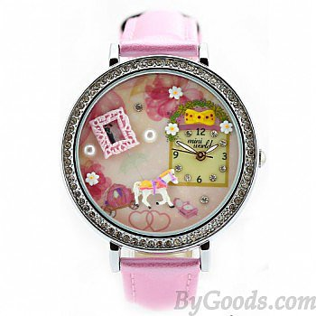 Cute Pink Whitehorse Floral Polymer Clay Watch
