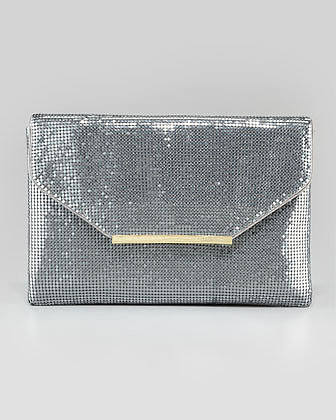 BCBGMAXAZRIA Harlow Metallic Chainmail Envelope Clutch Bag, Pewter