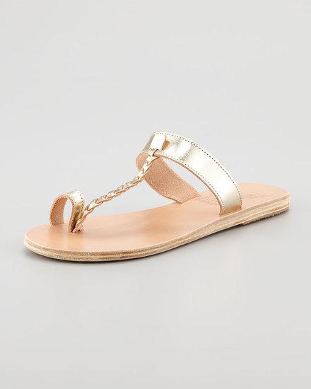 Ancient Greek Sandals Melpomeni Toe-Ring Braided Flat Sandal, Platinum