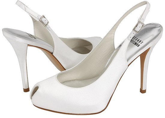 Stuart Weitzman Bridal & Evening Collection - Peeksling (White Satin) - Footwear
