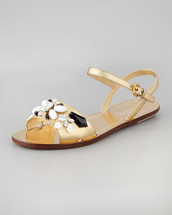 Prada Jeweled Ankle-Strap Flat Sandal