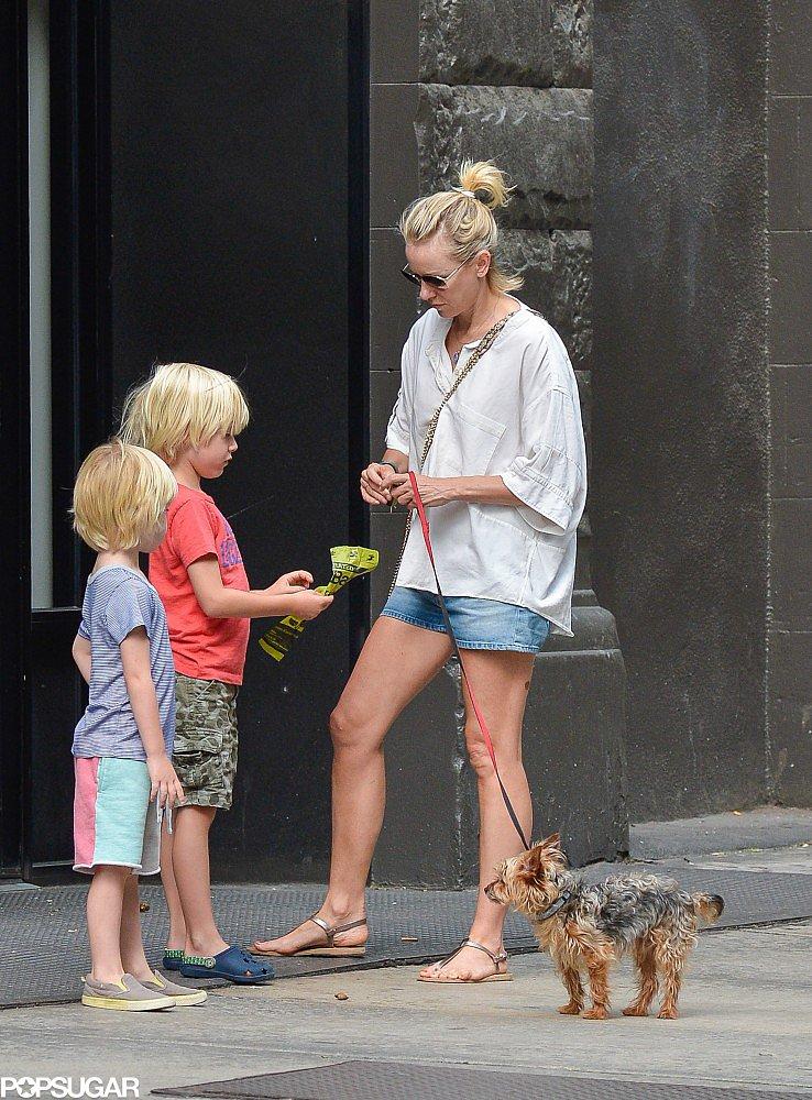 Naomi Watts took her sons, Sasha and Kai Schreiber, to walk the dog in NYC on Monday.