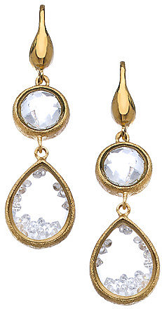 Urban Posh White Quartz Pear Stardust Shaker Earrings