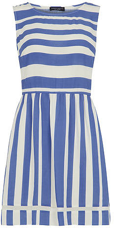 Blue and ivory stripe dress