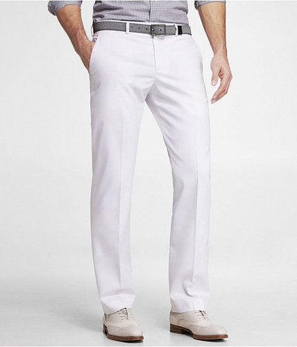 White Cotton Sateen Photographer Suit Pant
