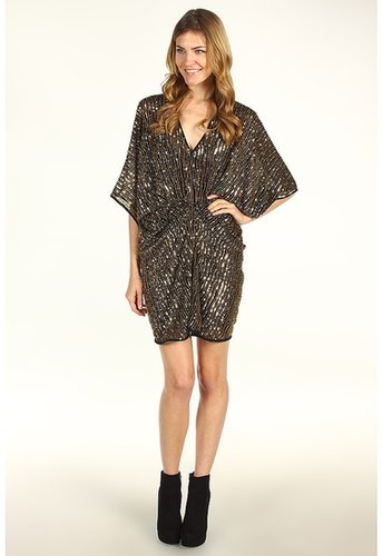 ABS Allen Schwartz - V-Neck Shirred Front Tulip Dress w/Sequins (Black/Gold) - Apparel