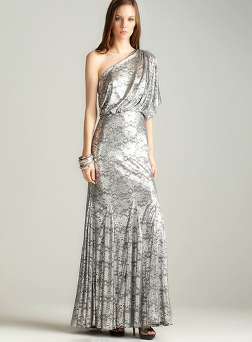 Nightway One-shoulder Foil lace Gown