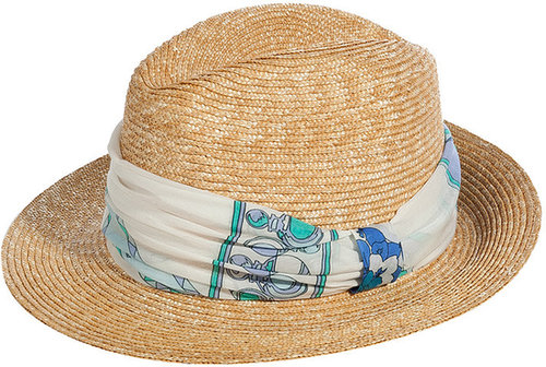Emilio Pucci Natural-Multi Straw Fedora