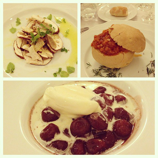 Just part of the epic dinner at the Pitti Palace, including local specialties like cremini mushroom salad, pappa al pomodoro soup, and gelato with warm cherries.