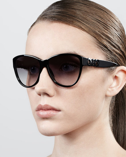 MARC by Marc Jacobs Chain-Temple Cat-Eye Sunglasses, Black