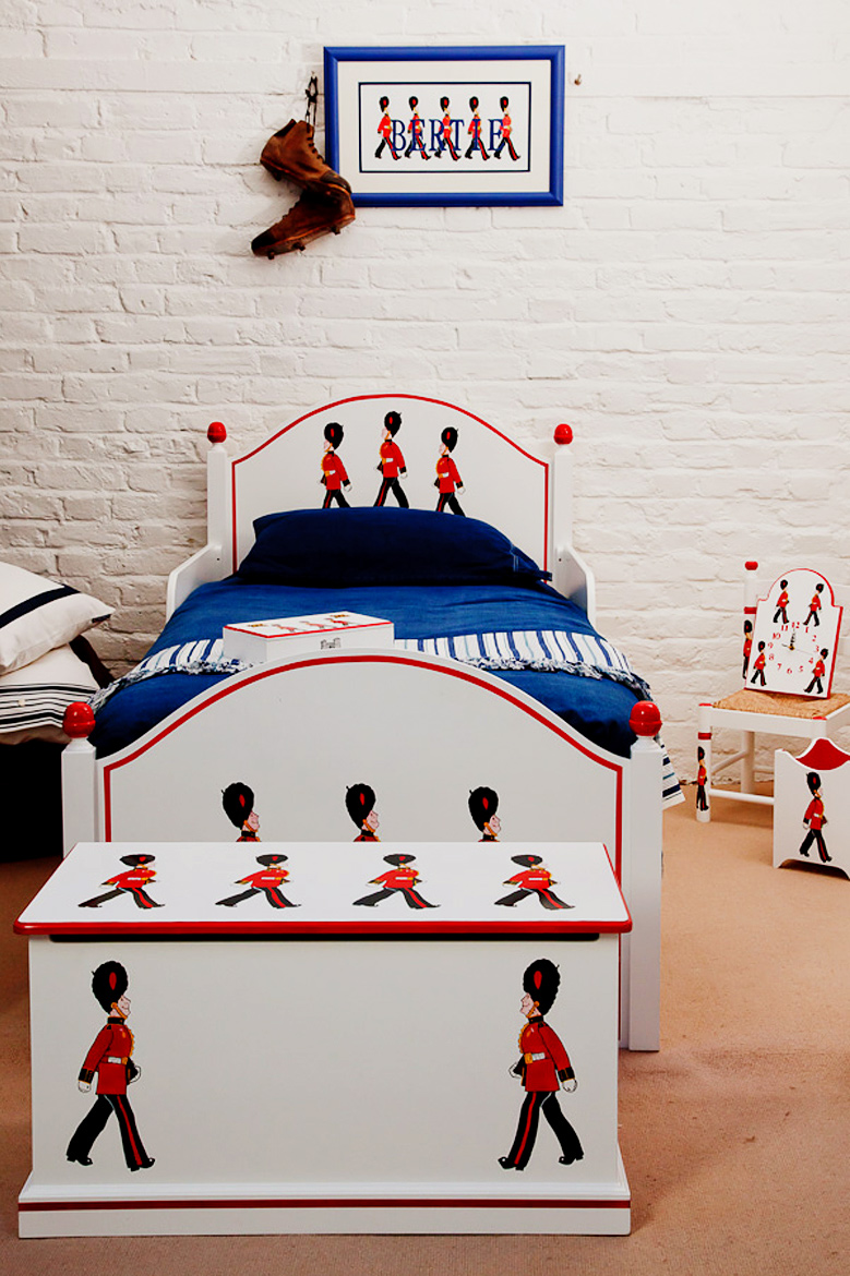 Dragons of Walton Street, the tot hand-painted furniture store in London that designed Prince William's nursery, has its own London-themed pattern — Terry's Soldiers — that can adorn anything from toy chests and wastebaskets to beds, chairs, and bookshelves.