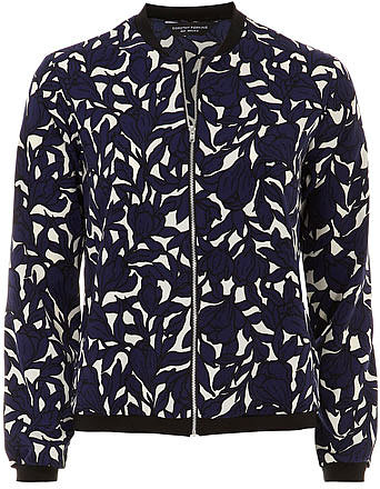 Navy floral bomber jacket