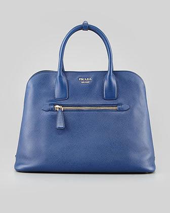 Prada Saffiano Cuir Open Promenade Tote Bag, Blue
