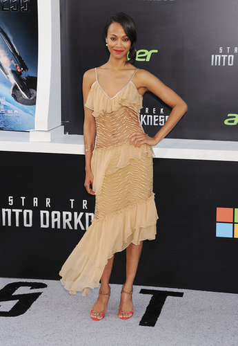 Zoe Saldana wowed in Rodarte while promoting Star Trek Into Darkness in Hollywood in May 2013.