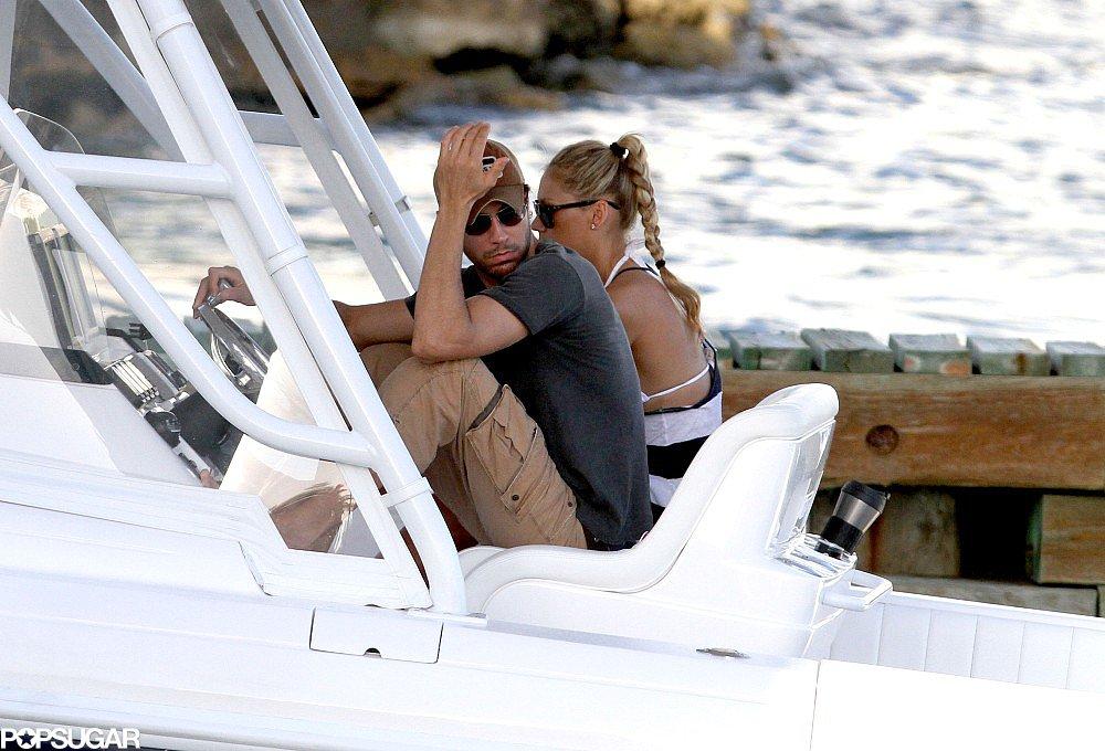 Enrique Iglesias and Anna Kournikova took a trip on the water.
