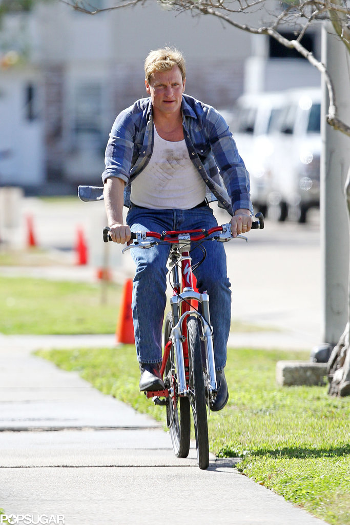 Woody Harrelson rode on the sidewalk in New Orleans back in March.
