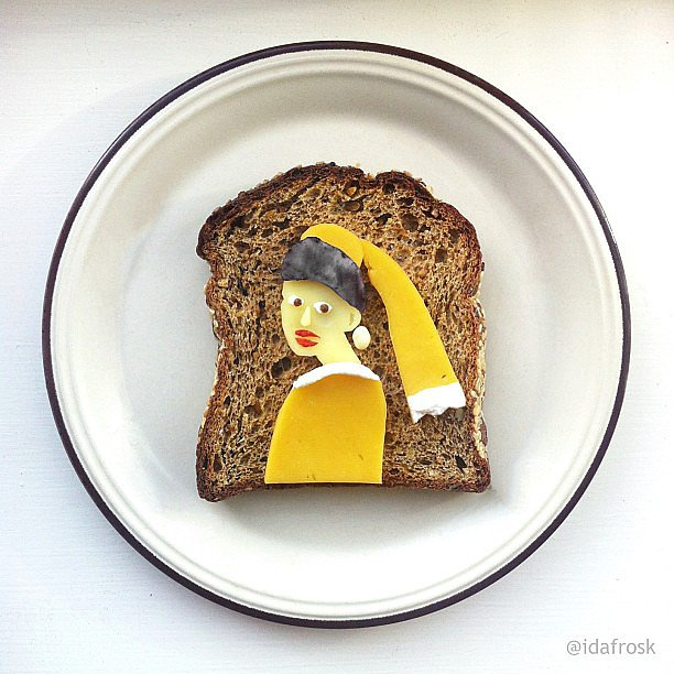 """As part of her Art Toast Project, food artist Ida Skivenes reinvents classic artworks using food on a piece of toast (such as this one modeled after """"The Girl With the Pearl Earring""""). Check out her Instagram account for more and get lost in her amazing work.  Source: Instagram user idafrosk"""