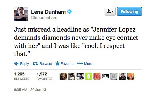 If Jennifer Lopez ever goes full-blown diva, Lena Dunham will approve.