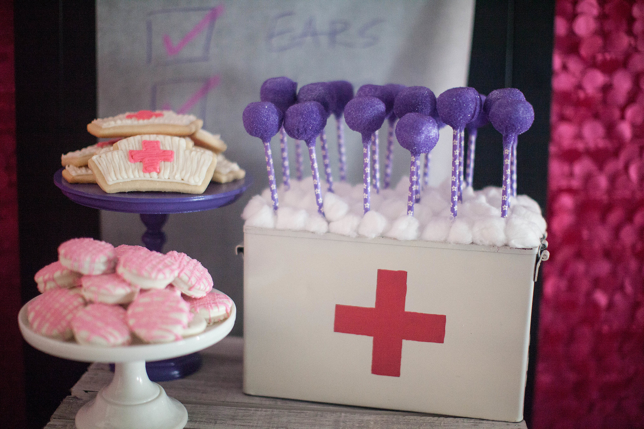 And Purple Sugared Cake Pops Stuck Out Of A Vintage