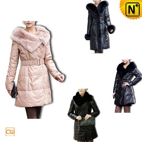 Leather Long Down Coat CW148340 - cwmalls.com